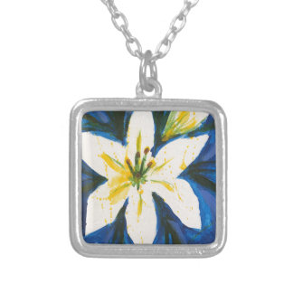 White Lily on Blue Collection by Jane Silver Plated Necklace
