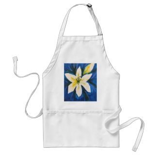 White Lily on Blue Collection by Jane Standard Apron
