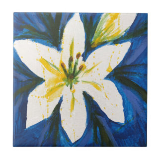 White Lily on Blue Collection by Jane Tile