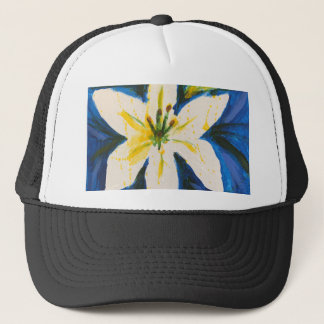 White Lily on Blue Collection by Jane Trucker Hat