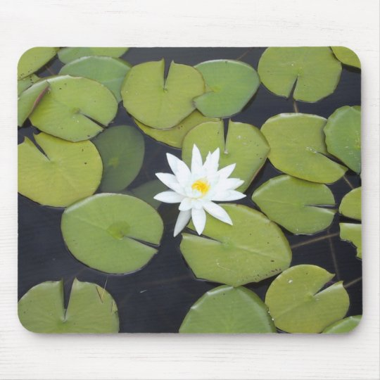 White lily pad mouse pad