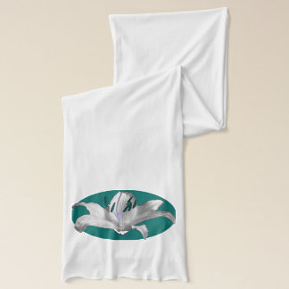 White Lily Teal Motif shown on White Scarf