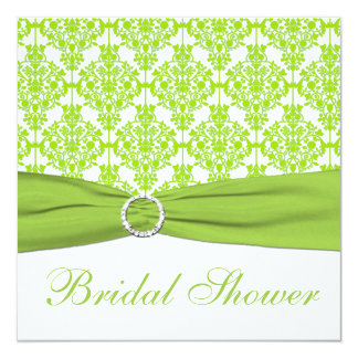 White, Lime Damask Bridal Shower Invitation