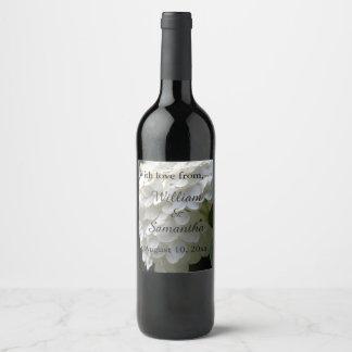 White Lime Hydrangea Wedding Thank You Wine Label