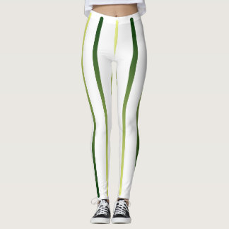 White Lime Striped Slimming Trendy Sporty Pants