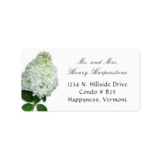 White Limelight Hydrangea Floral Address Label