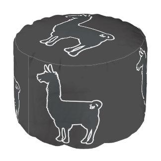 White Line Llama Pouf