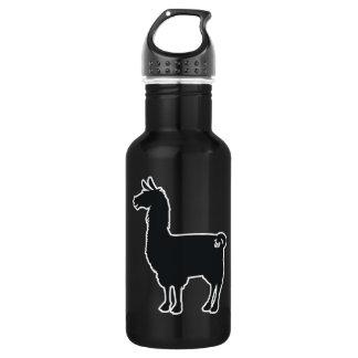 White Line Llama Water Bottle
