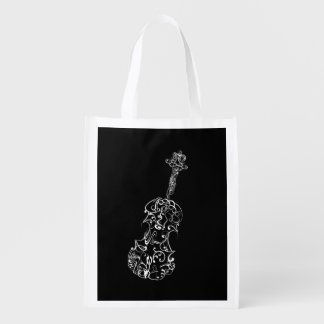 White Line Violin Drawing on Black Reusable Grocery Bag