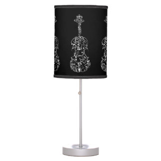 White Line Violin Drawing on Black Table Lamp
