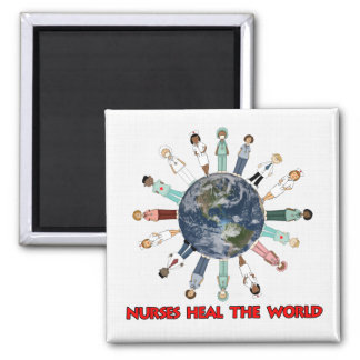White Linen Pattern with World Nurses Square Magnet