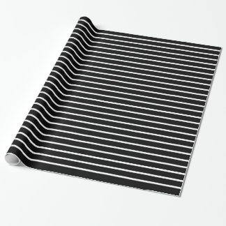 White Lines Black Wrapping Paper