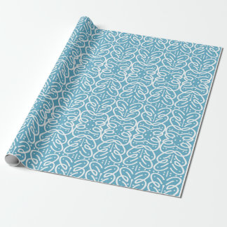White lines on a bright blue background wrapping paper