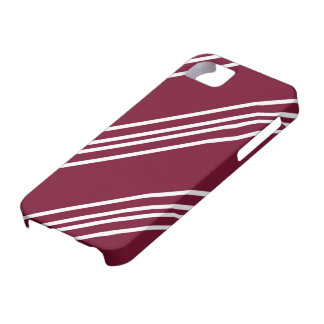 White Lines on Maroon iPhone 5 Cover