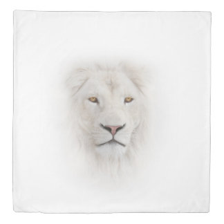 White Lion Head (2 sides) Queen Duvet Cover