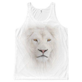 White Lion Head All-Over Print Tank Top