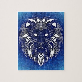 White Lion With Blue Background Jigsaw Puzzles