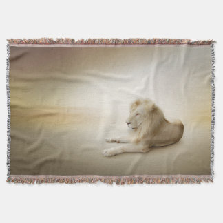 White Lion Woven Throw Blanket