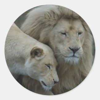 White Lions Classic Round Sticker