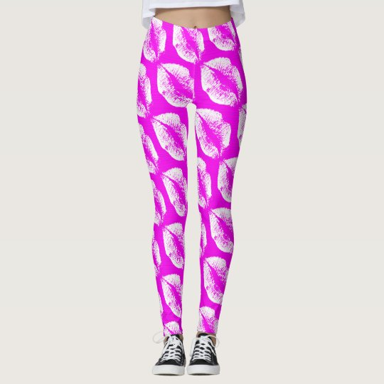 White Lips Modern Fuchsia Leggings