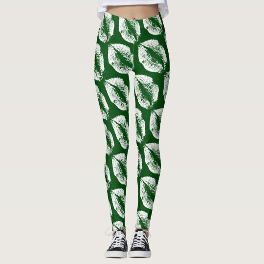 White Lips Modern Green Leggings