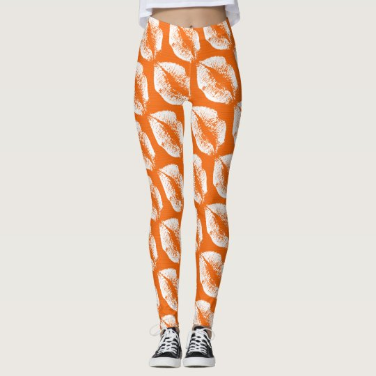 White Lips Modern Orange Leggings