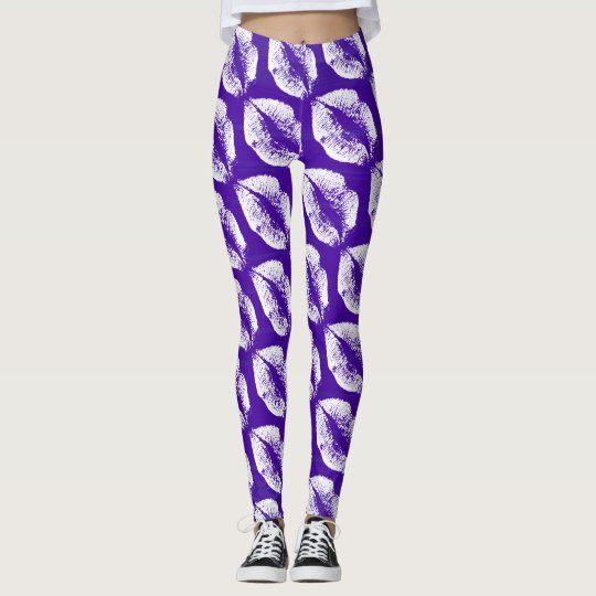 White Lips Modern Purple Leggings