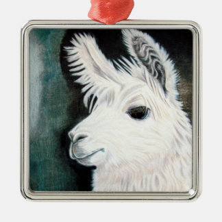 White Llama Metal Ornament