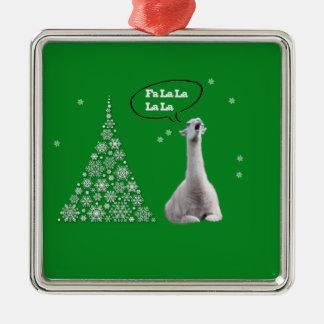 White Llama Sings Christmas Carol:Fa LaLaLa Lama Silver-Colored Square Ornament