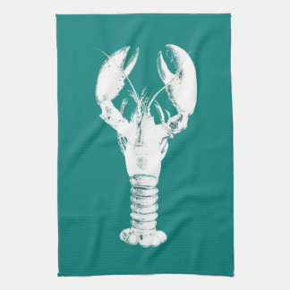 White Lobster on Turquoise / Teal Kitchen Towel