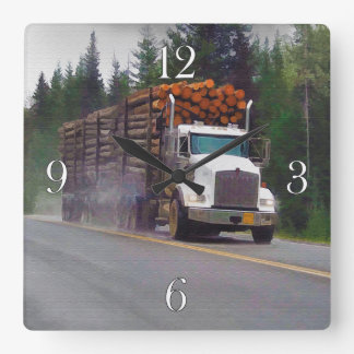 White Logging Truck Drivers Wall Clock