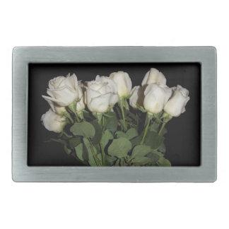 White Long-Stemmed Roses Photo on Black Background Belt Buckle