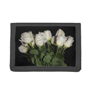 White Long-Stemmed Roses Photo on Black Background Trifold Wallet