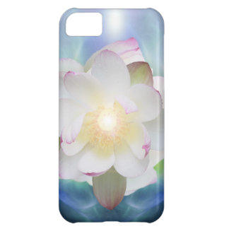 White lotus flower in blue crystal case for iPhone 5C