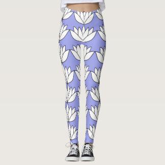 White Lotus Flower Leggings