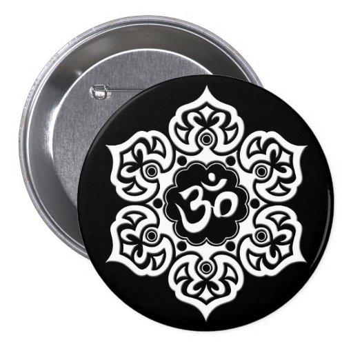 White Lotus Flower Om on Black Pin