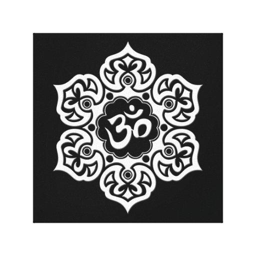 White Lotus Flower Om on Black Canvas Print