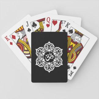 White Lotus Flower Om on Black Card Deck