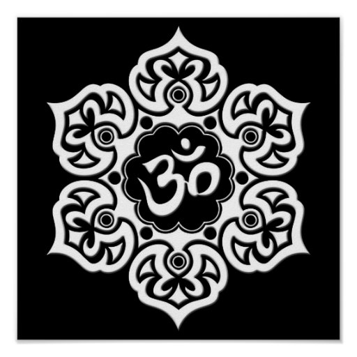 White Lotus Flower Om on Black Posters