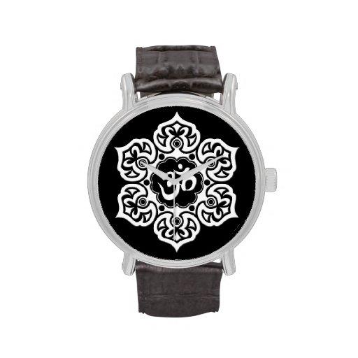 White Lotus Flower Om on Black Watch