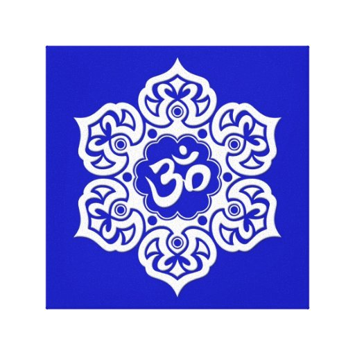 White Lotus Flower Om on Blue Stretched Canvas Prints