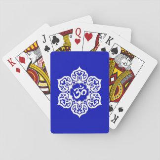 White Lotus Flower Om on Blue Card Decks