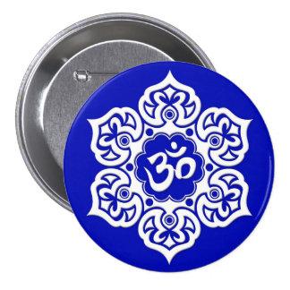 White Lotus Flower Om on Blue Pin