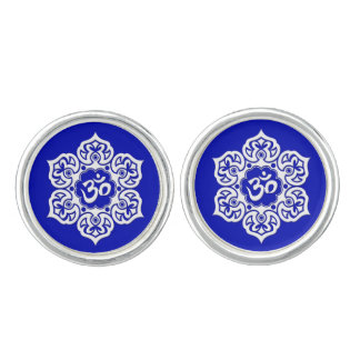 White Lotus Flower Om on Blue Cufflinks