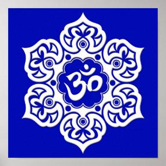White Lotus Flower Om on Blue Poster