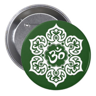White Lotus Flower Om on Green Pinback Button