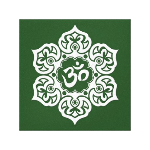White Lotus Flower Om on Green Gallery Wrapped Canvas