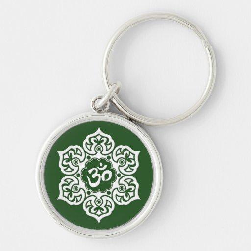 White Lotus Flower Om on Green Keychain