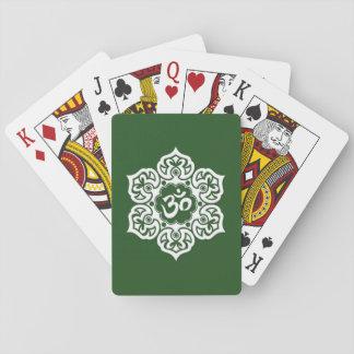 White Lotus Flower Om on Green Card Deck