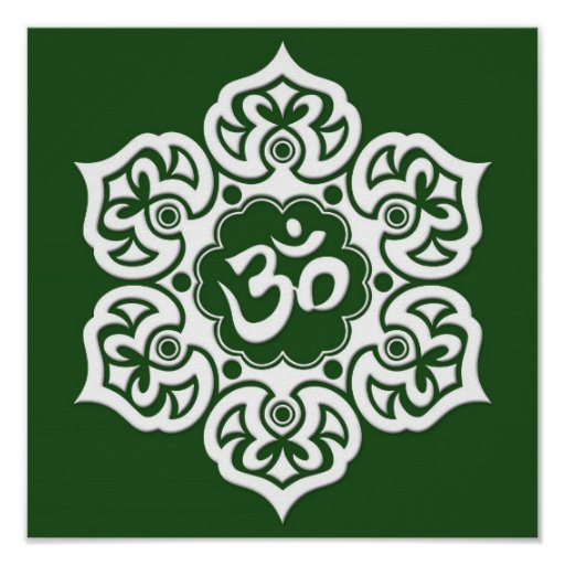 White Lotus Flower Om on Green Posters